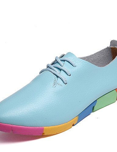 ZQ Scarpe Donna-Stringate-Ufficio e lavoro / Casual-A punta-Piatto-Di pelle-Nero / Blu / Bianco / Arancione , orange-us9 / eu40 / uk7 / cn41 , orange-us9 / eu40 / uk7 / cn41 white-us8 / eu39 / uk6 / cn39