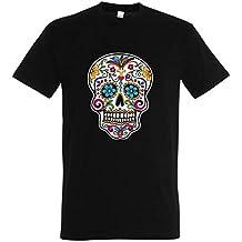 yonacrea T-Shirt Noir Tête de Mort Mexicaine aad51991bd8