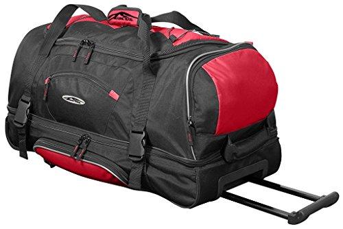 Trendyshop365 XL Reisetasche schwarz-rot mit Rollen, 95 Liter Volumen, Schuhfach und Trolleyfunktion -