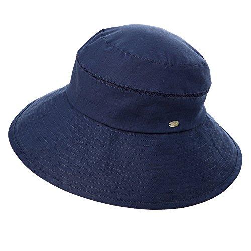 SIGGI Leinen/Baumwolle Damen faltbare Sonnenhüte Sonnen Shade mit Kinnriemen Fischerhüte SPF 50 + breite Krempe schwarzblau - Spf 50 Hat