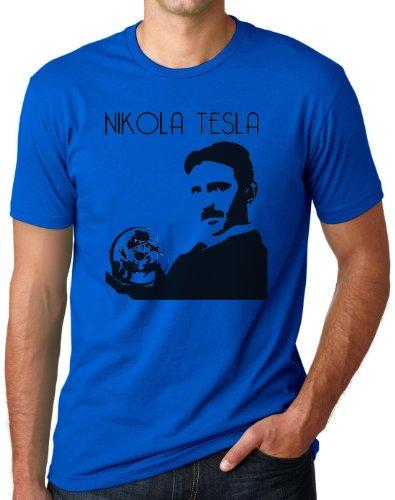 OM3 - NIKOLA TESLA - T-Shirt Physiker Erfinder Strom Nerd Elektrizität Energie Teslatron Geek EMO, S - 5XL Royalblau