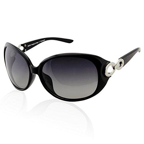 Duco Damen Klassisch Stern Sonnenbrille polarisiert 100% UV-Schutz 1220 (Schwarz)