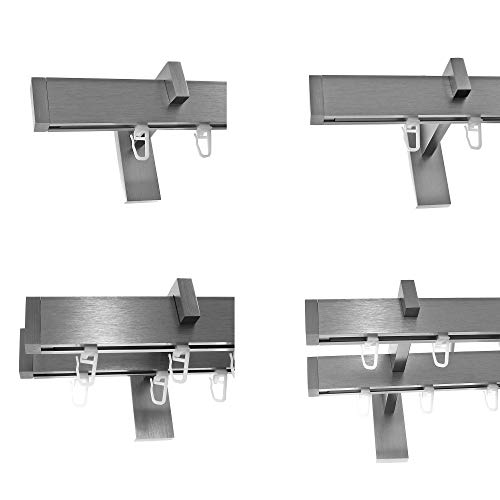 BASIT Innenlauf Gardinenstangen eckig Edelstahl Look kantiges Design 1-, 2- läufig E90, Länge Gardinenstange:240 cm, Modell:H95E90 2-Lauf Träger kurz