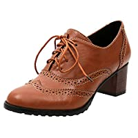 Lazzboy Brogues Ankle Boots Women Hollow Ladies Mid-High Heels Lace-up Shoes
