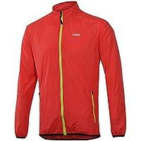 Cuzaekii Hombres A prueba de viento Ciclismo Chaqueta MTB Bici Vestimenta Intemperie Deportes Corriendo Excursionismo Viento Abrigo (L, Rojo)