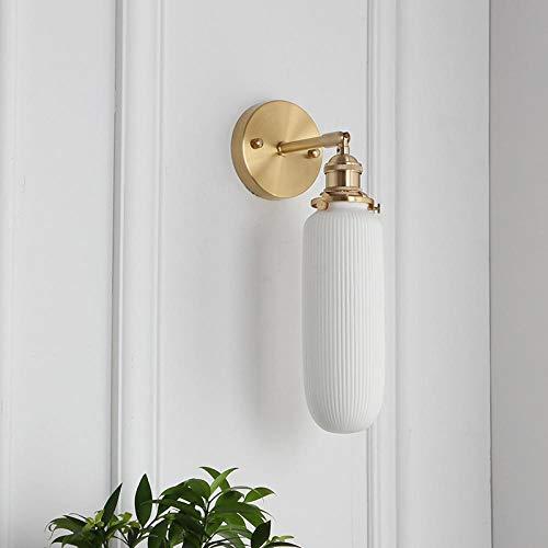 Nachtwandleuchte Nordic Messing einfache Esszimmer Wohnzimmer Badezimmerspiegel vorne Schlafzimmer Bad Messing Keramik Wandleuchte @ A Abschnitt (75mm * 220mm) _E27 Lampenfassung -