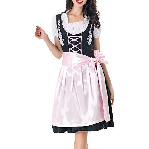 Express Kostüm Ananas - Goosuny Damen Midi Trachtenkleid Für Oktoberfest Halloween Kleider Maid Schürze Cosplay Kostüm