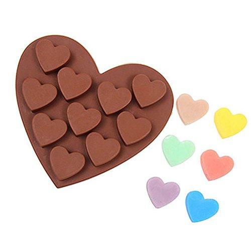 Brie Fuchi Silikon Backform mit Herzen, Schokolade Pudding Muffin Brownies Party-Eiswürfel Backform für Valentinstag, Weihnachten, Ostern, Kindergeburtstag Küchen Zubehör Backwaren