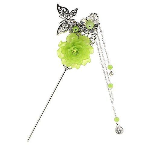 Sharplace Charms Fashion Blume Schmetterling Anhänger Quaste Perlen Chinesischen Palast Hanfu Kleid Haar Stick Für Kimono Lady - Grün (Für Kleid Grils)