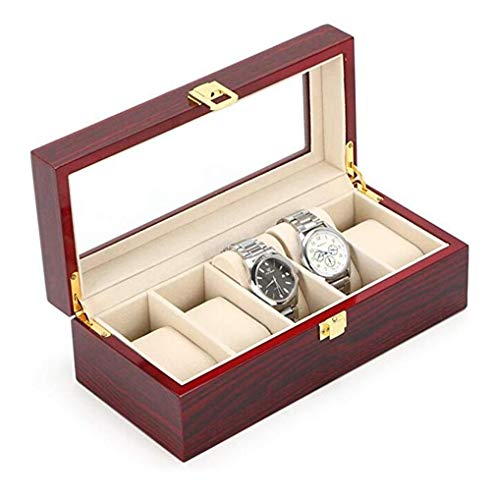 YZ-YUAN Uhrenbox Holzuhrbox für 5 Uhren mit Red Color Glass View Storage Box mit Schloss