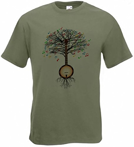 Banjo T-Shirt Musical Tree Country, Folk, Irish in Allen Größen Gr. XL, Olivgrün
