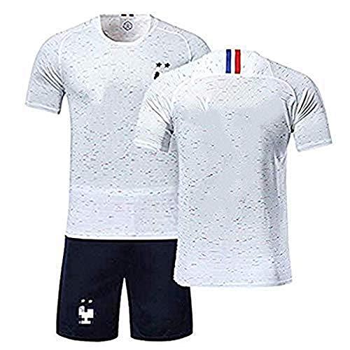 Männer Fußball Jersey Benutzerdefinierte Uniform Fußballmannschaft 2018 WM Frankreich Team Heim Auswärts 2 Sterne Fußball T-Shirt Set Kostenlos Benutzerdefinierte Name Jugend Fußball Jersey Shorts