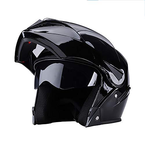 YXDDG Casco de Moto Abatibles de Doble Viseras Casco de Cara Completa,Bufanda de Cuello Desmontable de Invierno,Seguro, Cómodo, Unisex -B 54-60cm