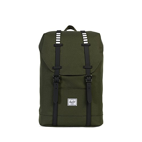 Herschel Supply Co. Retreat mid-volume Rucksack, Deep Lichen Green/Tan Synthetic Leather (grün) - 10329-00923-OS forest night/black rubber/white