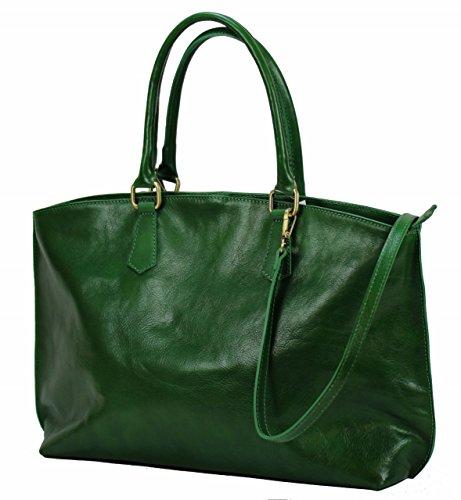 Luxus Aktentasche Aus Leder (BZNA Bag Ina Grün verde Italy Business Luxus Büro Designer Ledertasche City Damen Aktentasche Handtasche Schultertasche Tasche Leder Shopper DIN A4 Neu)
