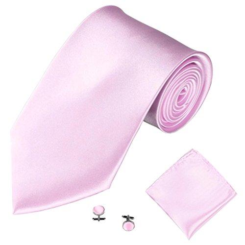 Herren Krawatten Taschentuch Manschettenknopf 3PCS SOMESUN Klassische Jacquard Mann Party Krawatte (#17)