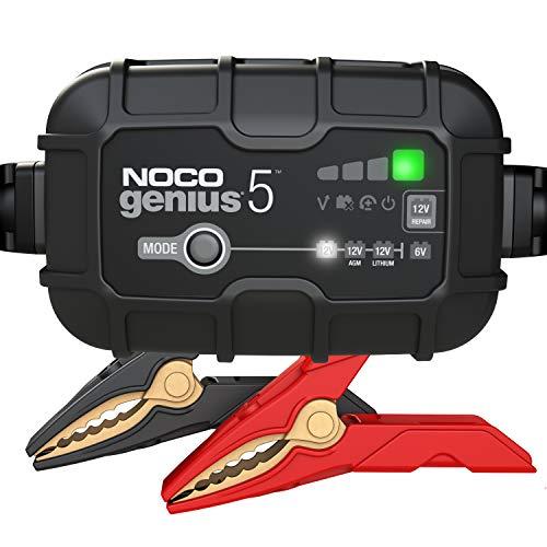 Oferta de NOCO GENIUS5EU, 5A cargador de batería automático inteligente portátil de 6V y 12V, mantenedor de batería y desulfador para moto, scooter, auto, camión y caravana