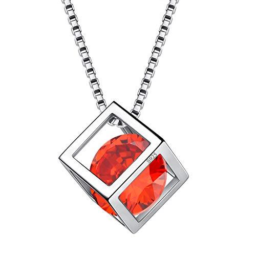 AuroraTears Januar Birthstone Halskette 925 Sterling Silber Roter Granat Quadrat Geburtsstein Anhänger Schmuck Geschenke für Frauen und Mädchen DP0028J