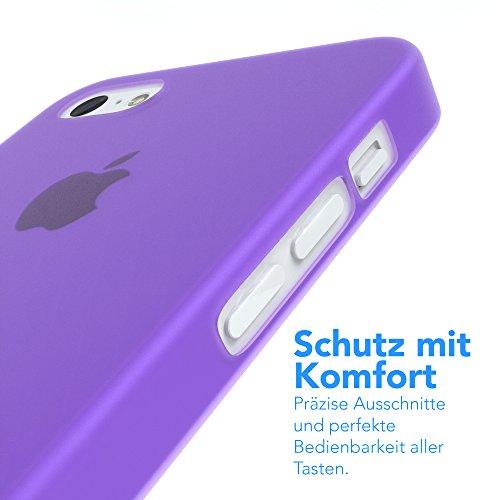 "Apple iPhone 5C Hülle, EAZY CASE Ultra Slim Cover ""Clear"" - Premium Handyhülle Transparente Schutzhülle, Smartphone Case in Transparent Matt Lila"