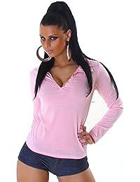 Damen Longarm Shirt, Top mit V-Ausschnit in vielen Trendfarben 32/34 o. 36/38