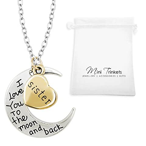 Gold / Silver I Love You To The Moon & Back Necklace Pendant Charm Gift Present (Sister)