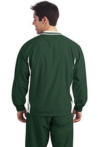 Sport-Tek à col en V manches coupe-vent pour homme Forest Green/White