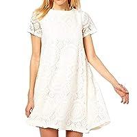 Fankle Sale Casual Plus Size A-Line Lace Short Sleeve Shirt Dresses Elegant Swing Dress Cocktail Party(White,S)