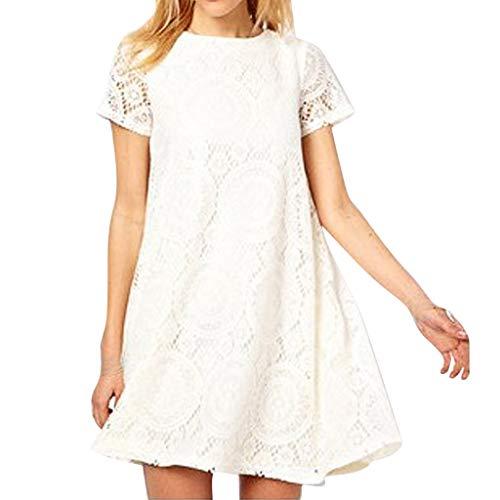 CUTUDE Damen Kleider Röcke Kurzarm Sommerkleider Mode Frauen Sexy Plus Größe Volltonfarbe Rundhalsausschnitt Spitze aushöhlen Kleid (Weiß, ()
