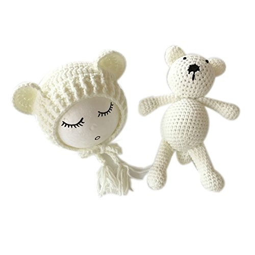 Neugeborene Baby Fotografie Requisiten Boy Girl Crochet Kostüm Outfits Hat Bär Set … ()