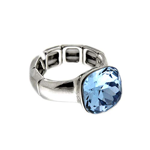 Sweet Deluxe Stretchring Diva, Silber/li.blau I Damen-Ring I Mode-Schmuck Ring für Frauen I Ringe Rings für Mädchen I modisches - Kostüm Schmuck Diamant Ring