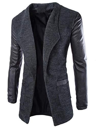 CuteRose Mens Drape Up Slim Casual Wool Blended Cardigan Trench Coat Dark Grey S