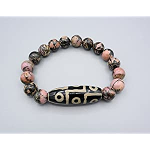 Armband - Tibet DZI Bead 9 Augen - Rhodonit - Feng Shui Schutz - Amulett Armband