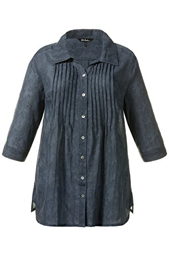 Ulla Popken Femme Grandes tailles | Elegante Chemisier Col chemise Blouse sexy Hauts Manches 3/4 Casual | 704856 vert roseau