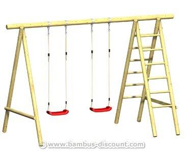 """Doppelschaukel aus Rundholz mit Klettersteg """"FIPS"""", 369x185x240cm - Kinderspielgeräte für Garten, Spielgeräte für Kinder, Spielturm, Spieltürme"""
