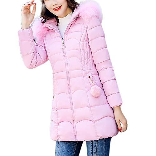 iHENGH Damen Winter Jacke Dicker Warm Bequem Parka Mantel Lässig Mode Reißverschluss Frauen mit Kapuze Outwear warme Langen dicken Pelzkragen Baumwolle dünne Slim Coat(Rosa,3XL)