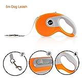 RCruning-EU Flexible Hundeleine 5M Flexi Roll-Leine für Mittlere Hunde bis max. 40 kg-Orange