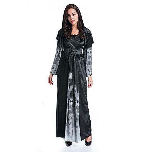 Olydmsky Weihnachtskostüm Damen,Adult Black Demon Kostüm Hexe vorgibt Vampir-Skelett, einheitliche Weihnachtsfeier