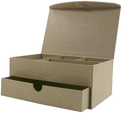 hmuckkästchen mit Schublade und 4 Fächern aus Pappmaché, 11 x 19 x 8 cm, zum Verzieren, mit Deckel und Magnetverschluss, perfekt für Ihre Wohndeko, Kartonbraun ()