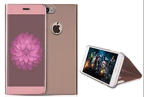 BCIT iPhone 7 Plus Spiegel Hülle - ultradünnen lichtdurchlässigen Spiegel für intelligente Abdeckung,PU Premium Lederhülle Hülle mit Standfunktion Flip Case Schale Etui für iPhone 7 Plus - Gold Gold