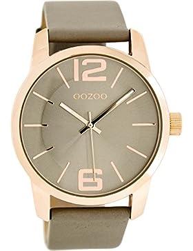 Oozoo Damenuhr mit Lederband 43 MM Rose/Silbergrau/Platingrau C7417