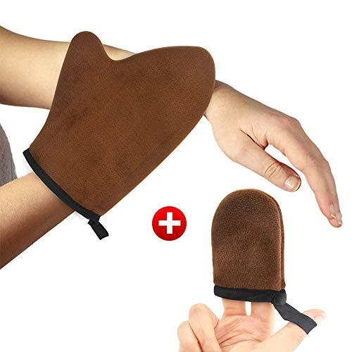Apark Bräunungshandschuh für Selbstbräuner-Creme doppelseitig mit sehr weichem Samt, Applikator waschbar, peeling, Applikatorhandschuh für Gesicht und Körper (Mit Fingerabdeckung) (Brown) -