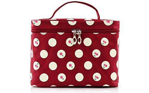SAMGU Filles Cerise Pois Motif Big Voyage Maquillage Cosmetic Bag de Toilette Trousse de Toilette Couleur vin Rouge
