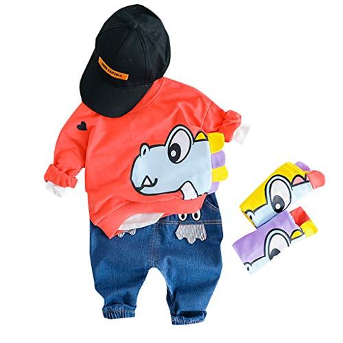 MRULIC Reizender Baby Playsuit Overall Kaninchen Ohr Badysuit stellt Outfit Pullover Jumper Herbst Frühlings Oberbekleidung Langhülse Knopf unten Hosen EIN (85-90CM, ()