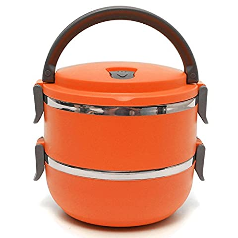 Aliciashouse 2 Layers Stainless Steel Bento Lunch Box Portable Thermal Insulation Lunch Box -orange