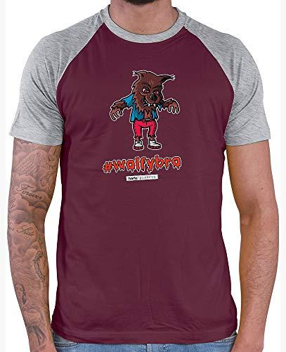 HARIZ  Herren Baseball Shirt Pixbros Wolfybro Halloween Kostüm Horror Kürbis Inkl. Geschenk Karte Burgundy/Grey Melange M