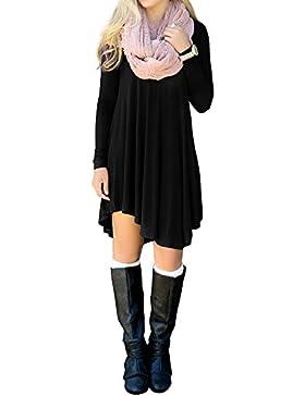 [Sponsorizzato]MinYuocom Donna Abito Eleganti A-Line Stile Vintage Lungo Irregolare Camicia Di Base MZF3940