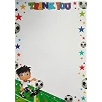 Pack of 20 Children's Cute Thank You Notes & Envelopes - Boy Football Design