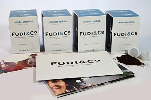 Fudi & co - orgoglioso coffe lover – caffè speciale del costa rica – 4 pacchi da 10 capsule compatibile nespresso – 100% compostabile.