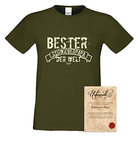 Geburtstagsgeschenk Schwieger-Papa-Vater :-: Herren T-Shirt als Geschenkidee :-: Bester Schwiegerpapa der Welt :-: Übergrößen 3XL 4XL 5XL :-: Geschenk zum Geburtstag Farbe: khaki Khaki