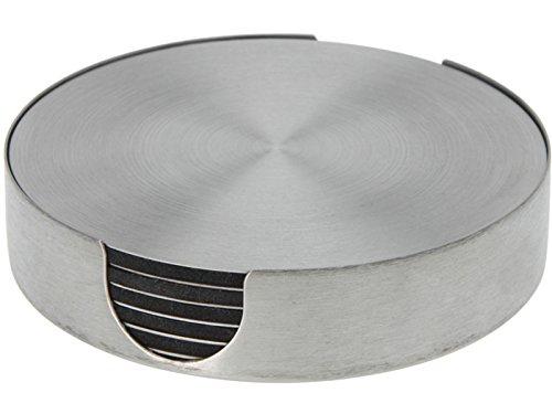 Bluespoon Untersetzer Set aus Edelstahl mit Halter 7 teilig | Durchmesser ca. 10 cm | Begeistern Sie Ihre Gäste mit funktionalen und schicken Glasuntersetzern
